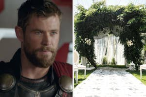 A close up of Thor as he glares at someone off screen and a wedding arch is covered in greenery as it stands in front of rows of chairs