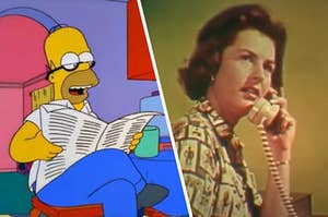 Homer Simpson reading a paper while a vintage model answers a rotary phone