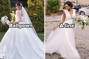 Ballgown and a-line dress