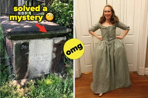 A tombstone in a cemetery; a woman wearing a handmade historical dress