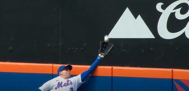 Brandon Nimmo reaches over the wall to catch baseball