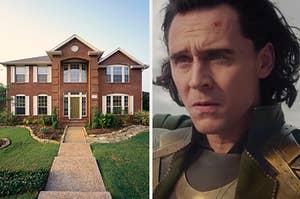 Loki looking at a house