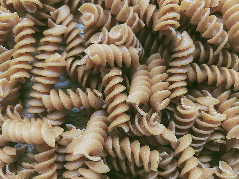 Full frame shot of whole wheat rotini pasta
