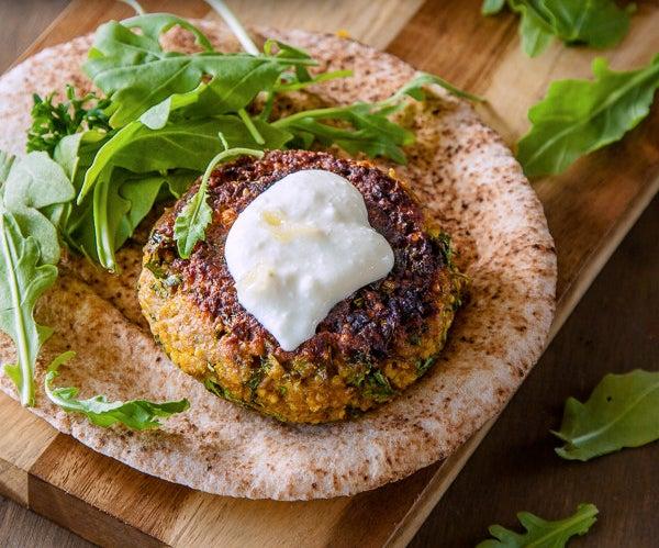 Spiced Millet Chickpea Burgers with Preserved Lemon Yoghurt