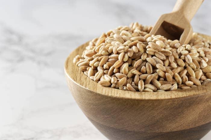 Wooden bowl of farro