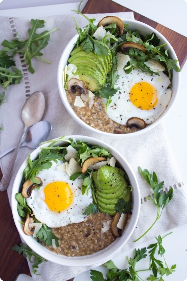 Savory oatmeal with eggs and avocado