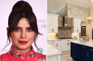 Priyanka Chopra is on the left with a luxury kitchen on the right