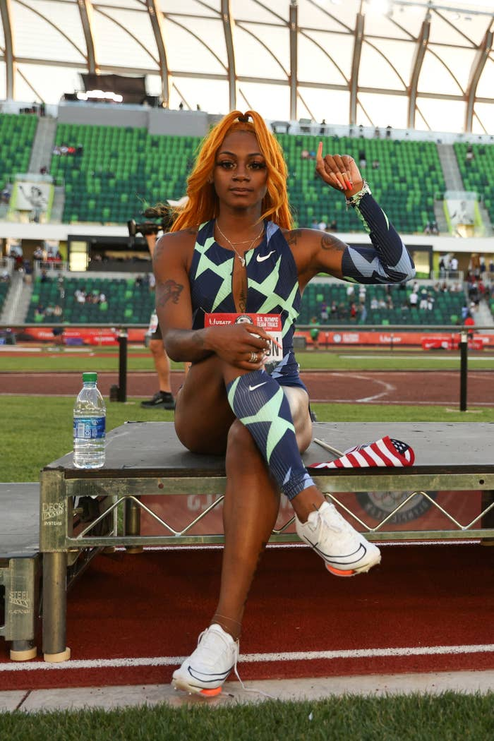 Sha'Carri holding up a fist as she poses at the U.S. Olympic trials