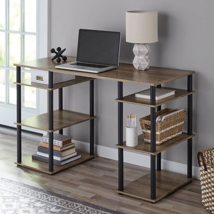 The desk being used as a home office