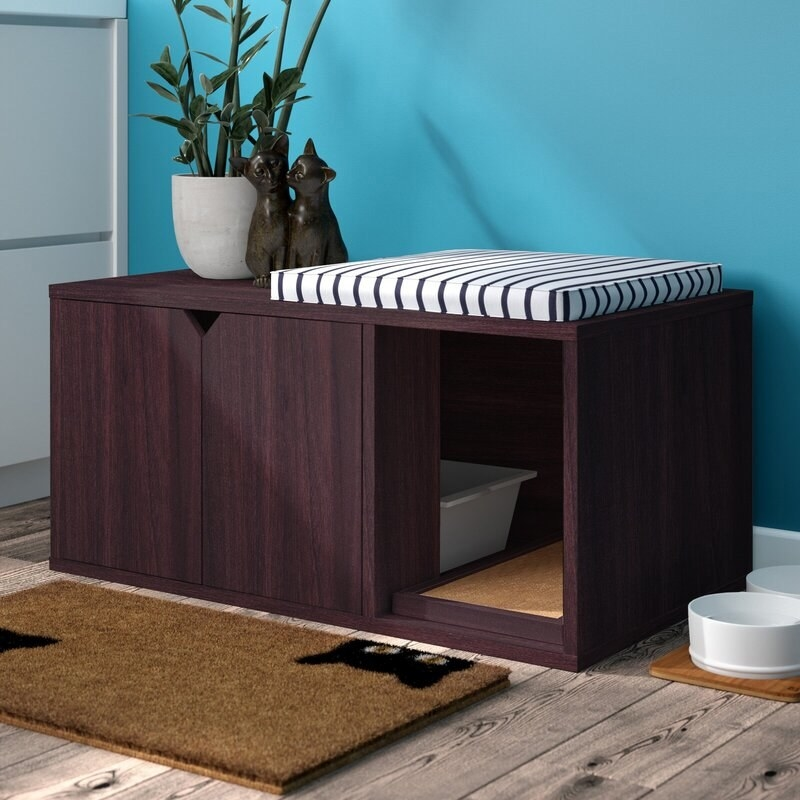 The litter box holder in brown