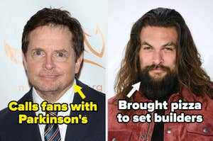 """Michael J Fox labeled """"Calls fans with Parkinson's"""" and Jason Momoa labeled """"brought pizza to set builders"""""""
