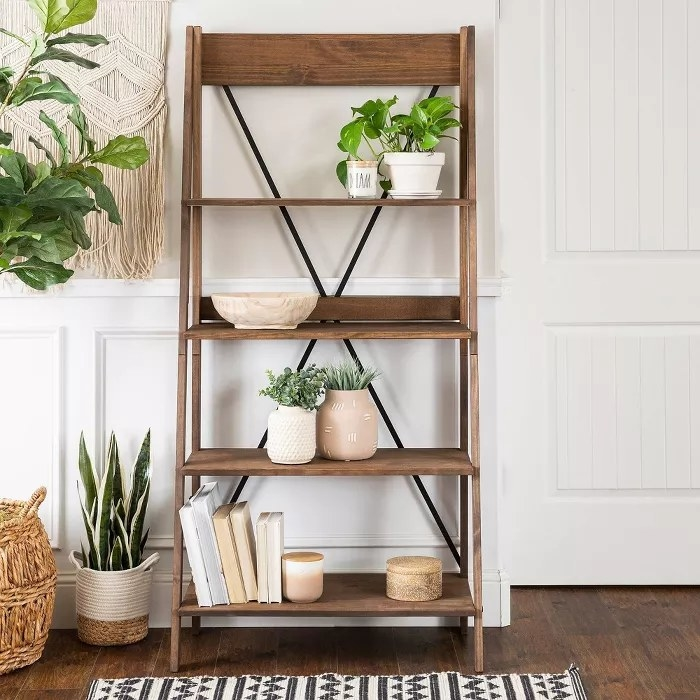 The solid wood ladder bookshelf