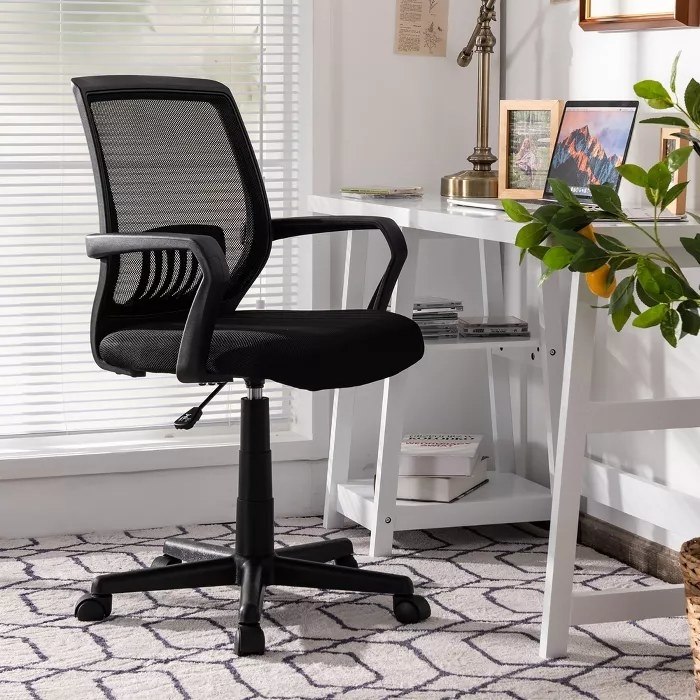 The mesh chair with lumbar support and wheels