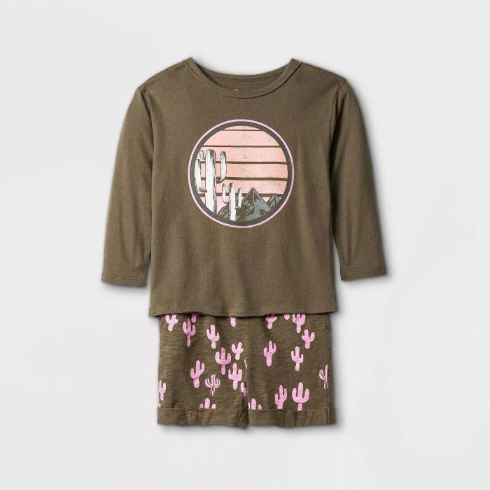 The brown shorts with a pink cactus pattern and a long-sleeve, brown shirt with a pink cactus graphic