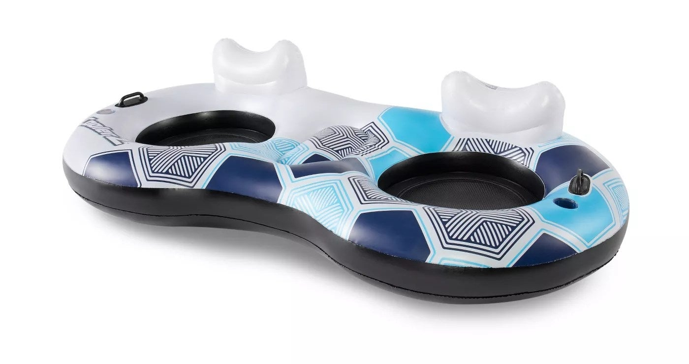 The white, blue, and black inflatable float