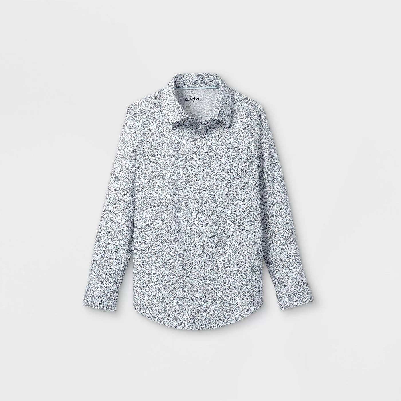 The cream and blue button-down