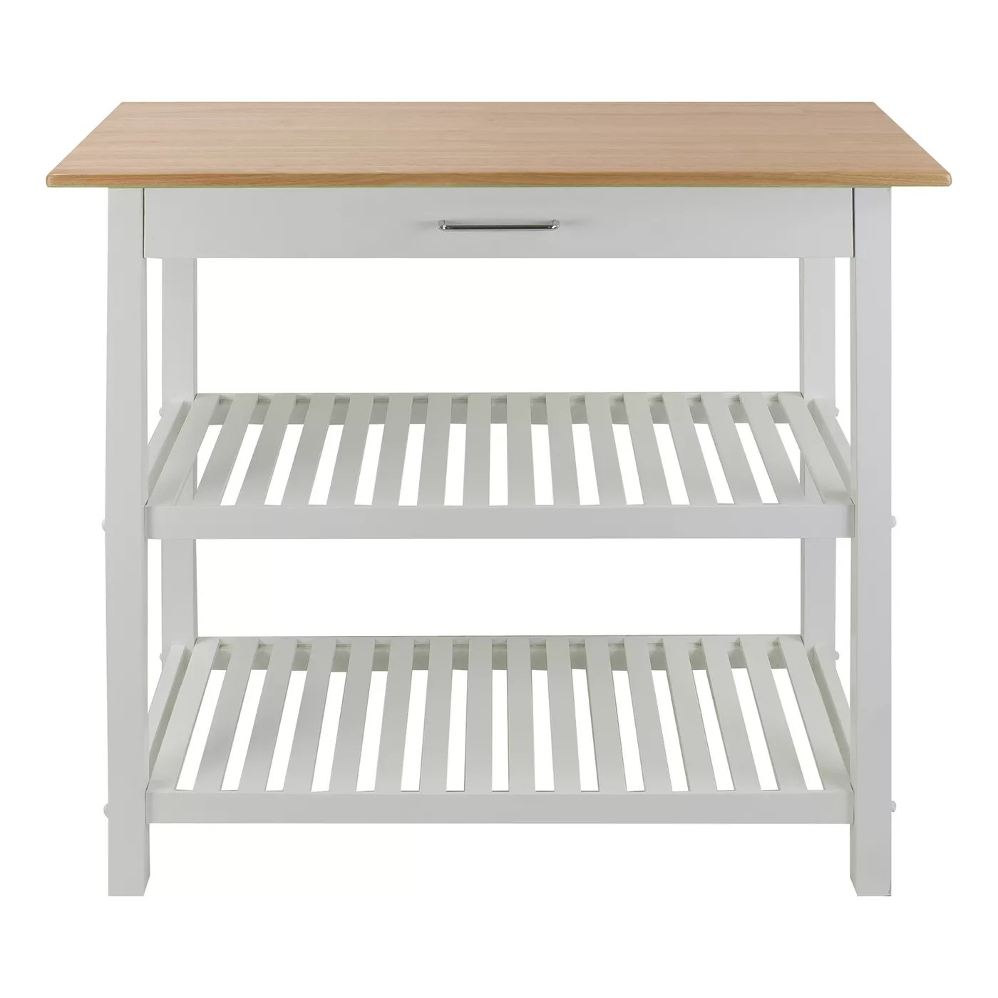 The white kitchen island with a wood top