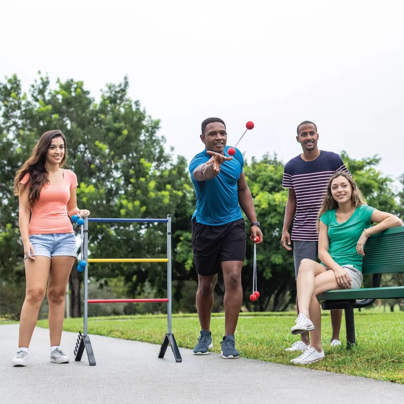 Models playing ladderball