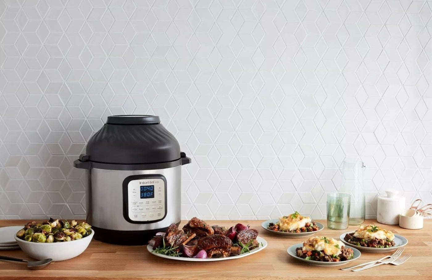 The Instant Pot with an air fryer lid