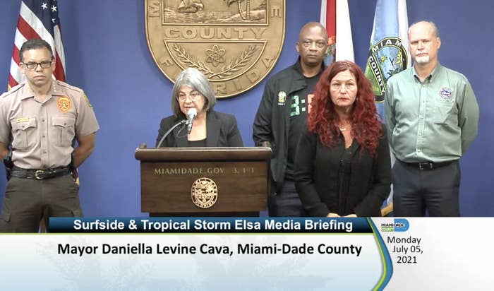 Miami–Dade County Mayor Danielle Levine Cava speaks at the podium at a press conference