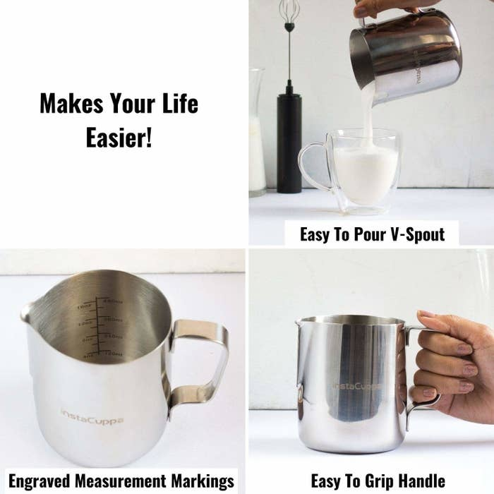 4 images explaining the use of a milk frothing pitcher.