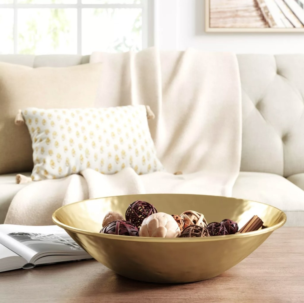the bowl on a coffee table