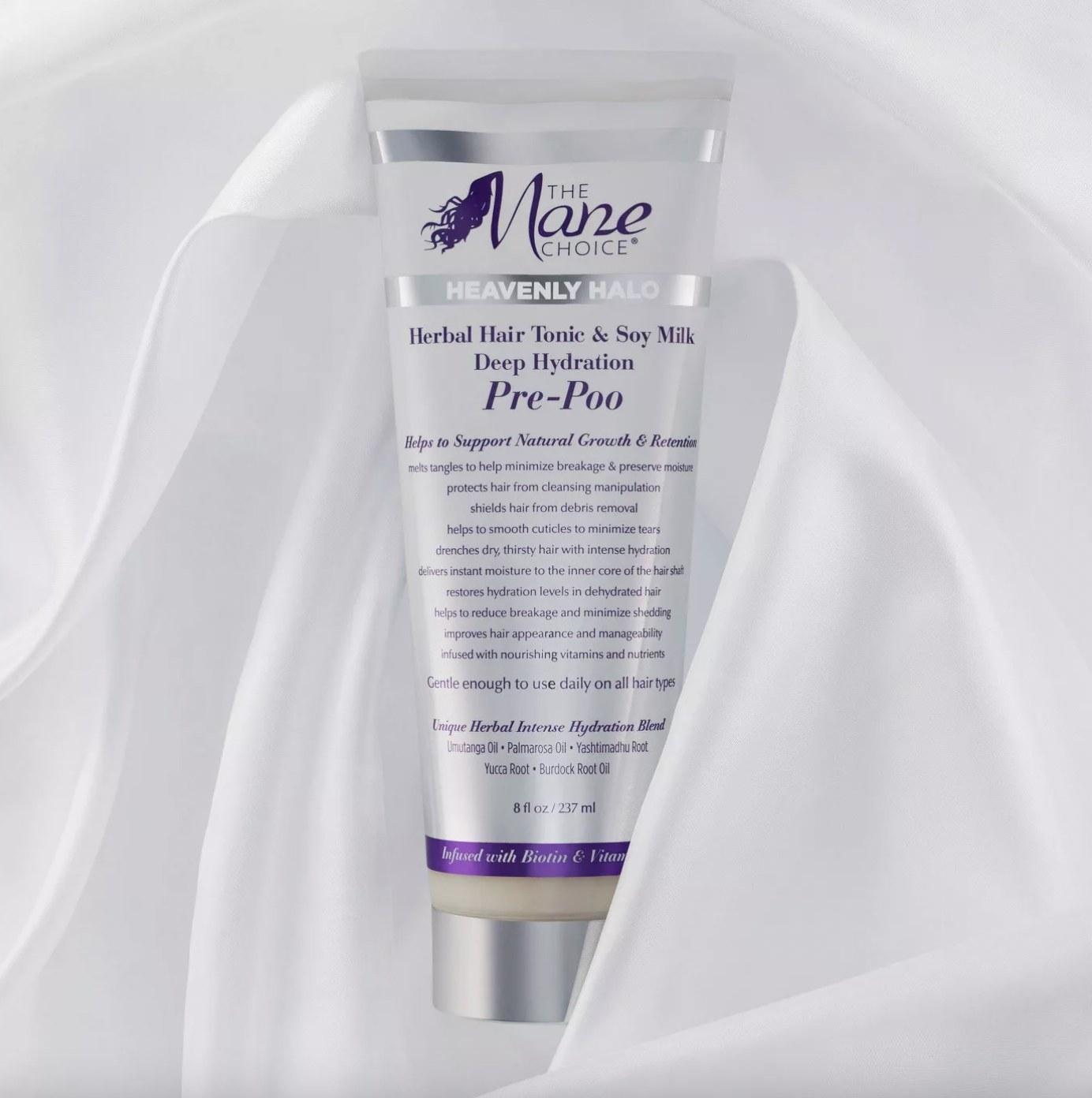 A tube of hair treatment