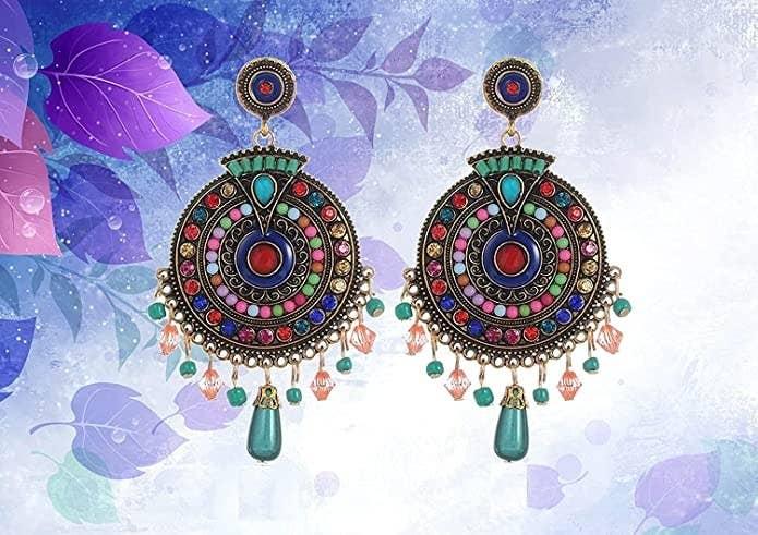 Multicoloured drop earrings