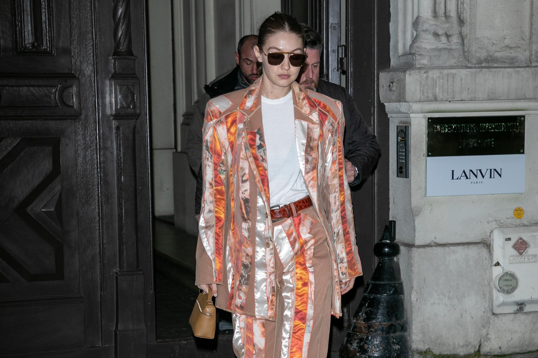 Model Gigi Hadid is seen on February 25, 2020 in Paris, France