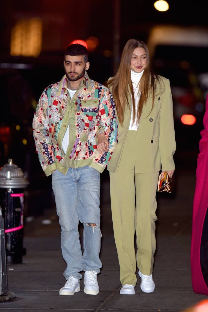 Gigi Hadid and Zayn Malik show PDA after leaving a restaurant in NoHo celebrating a birthday on January 11, 2020, in New York City