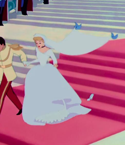 Cinderella wearing a long-sleeve dress