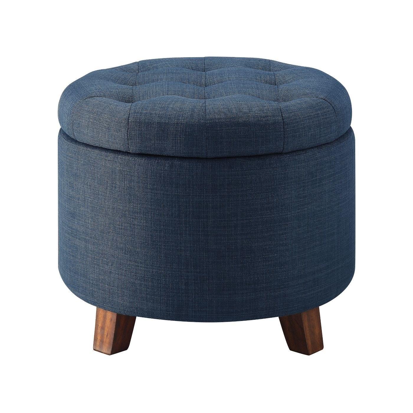 round blue heather ottoman
