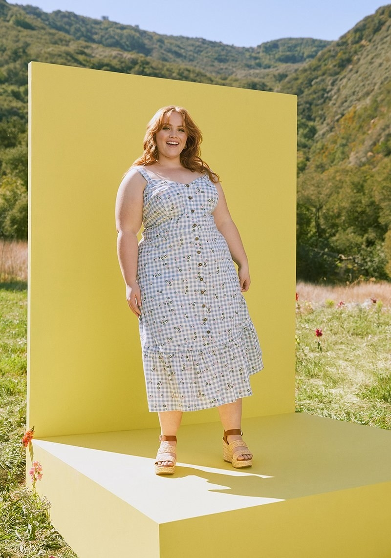 model wearing floral midi dress