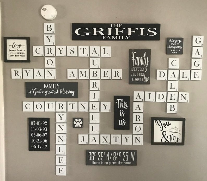 a wall filled with scrabble tiles spelling out names surrounded by other wooden signs