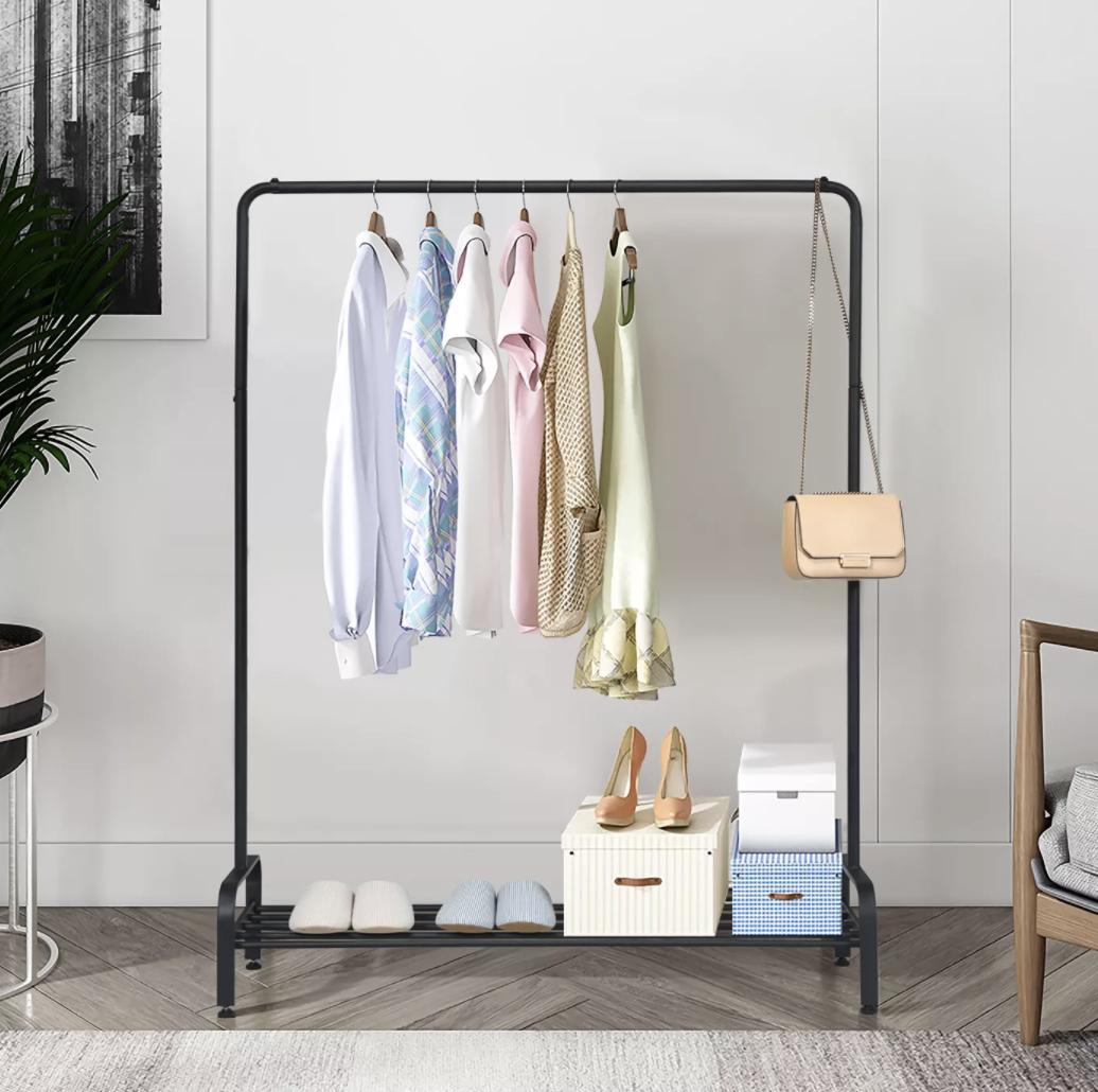 the black garment rack