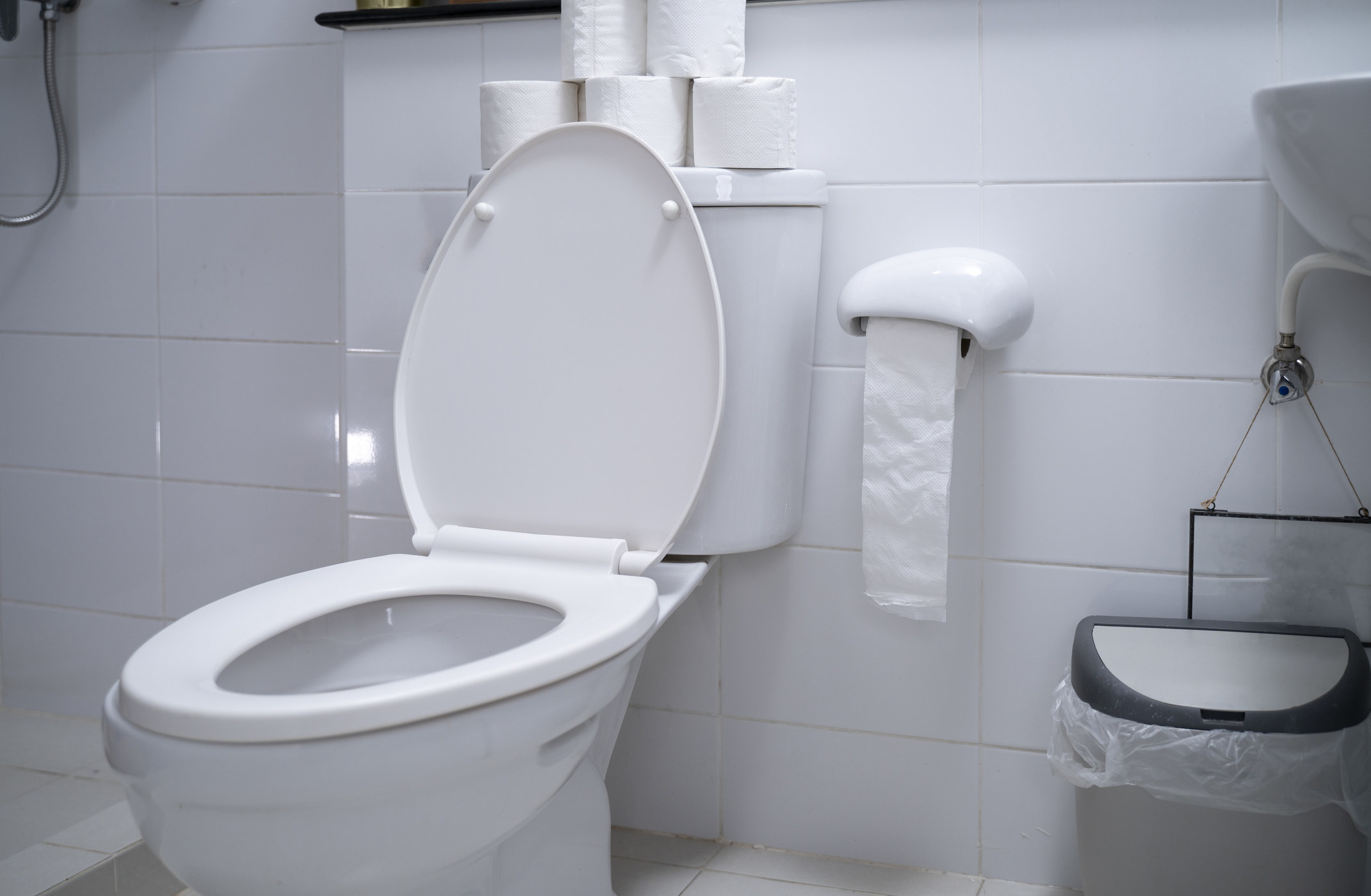 A toilet with an open lid in a clean bathroom