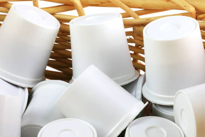 Close-up of coffee pods in a basket