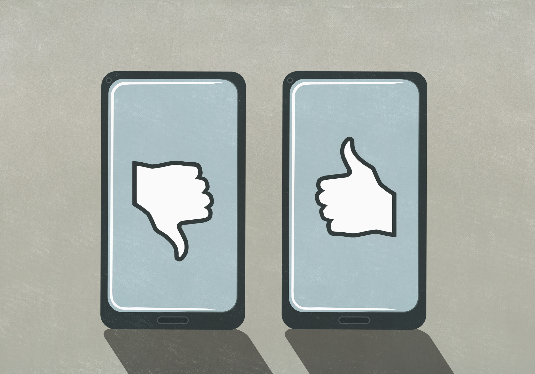 Drawing of two iPhones, one with a big thumbs down and one with a big thumbs up