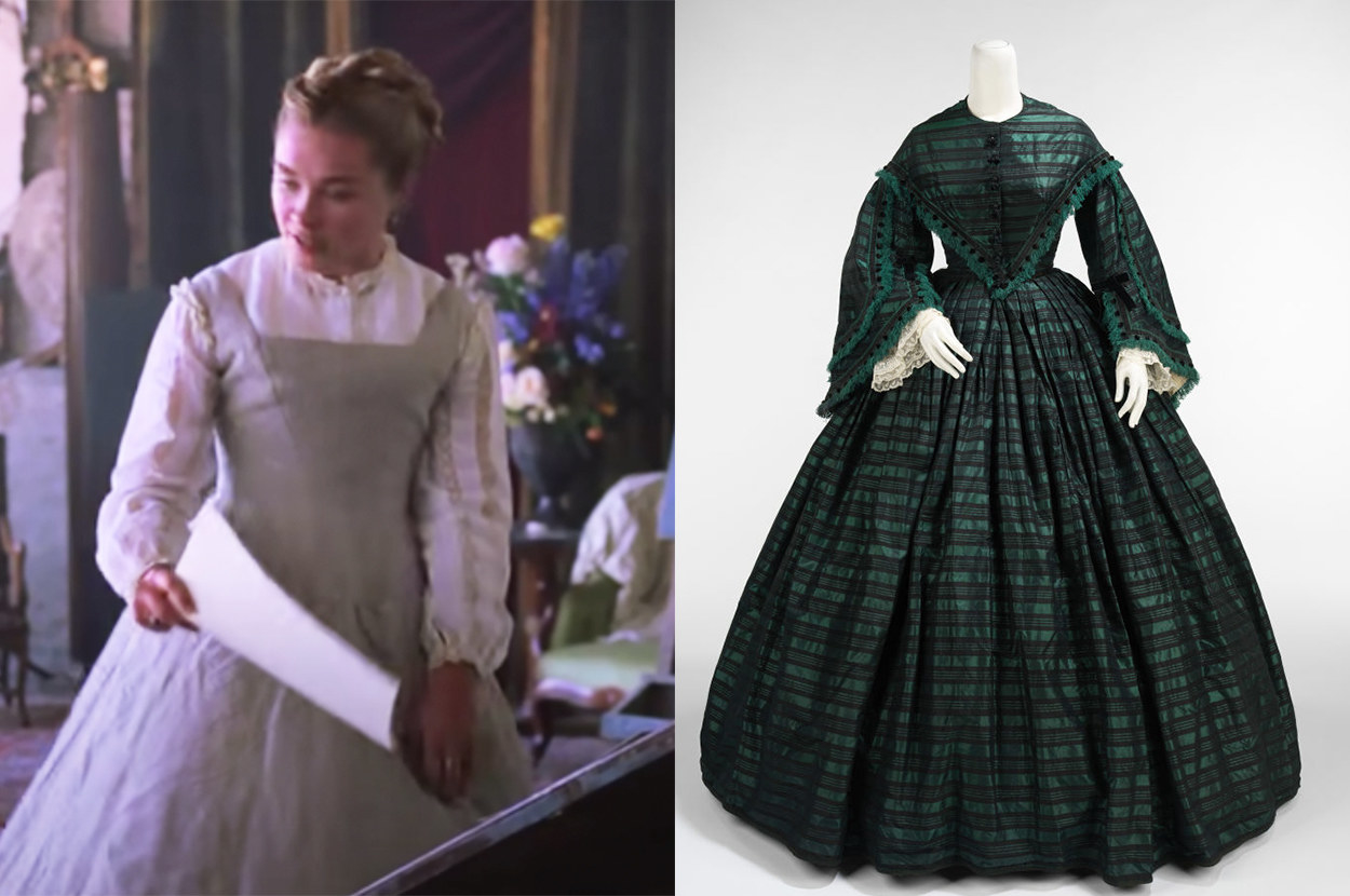 Amy's dress has a square neckline, but the historical dress has a high one