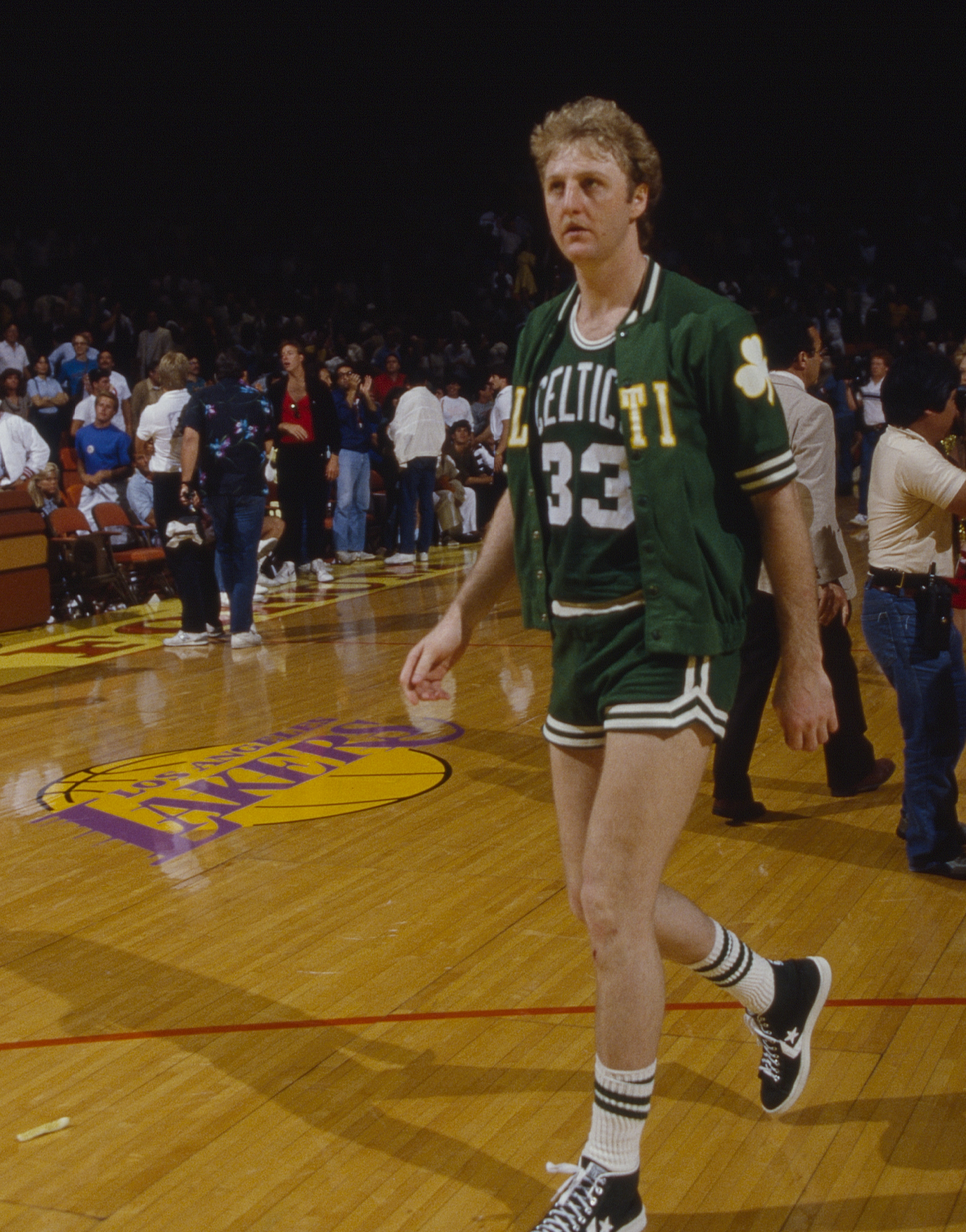 Larry Bird, the Celtics' No. 33, on the basketball court against the Los Angeles Lakers