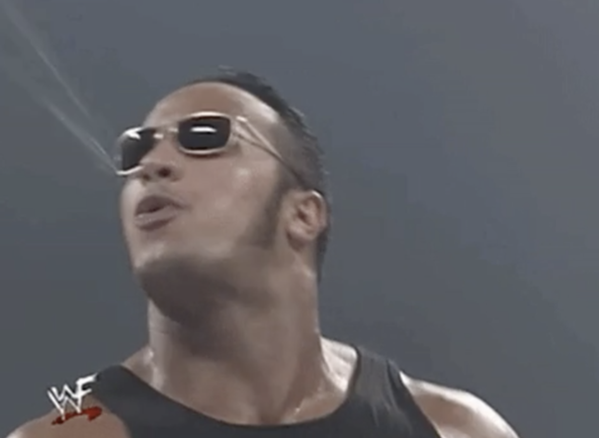 "Dwayne ""The Rock"" Johnson spitting"