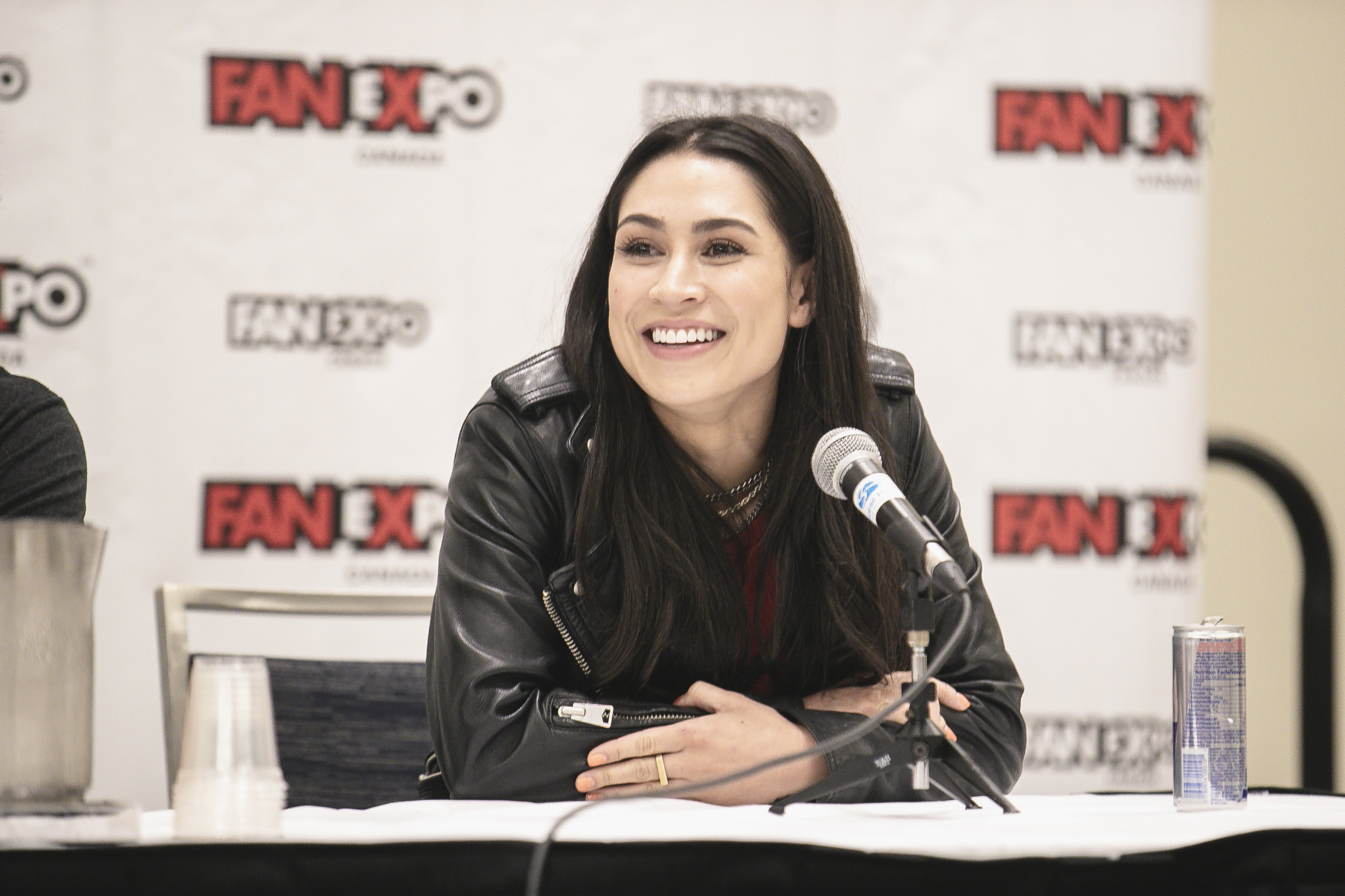 Cassie Steele speaks at a panel event