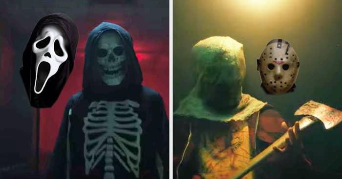 the skeleton killer looking like ghost face and the camp axe killer looking like jason