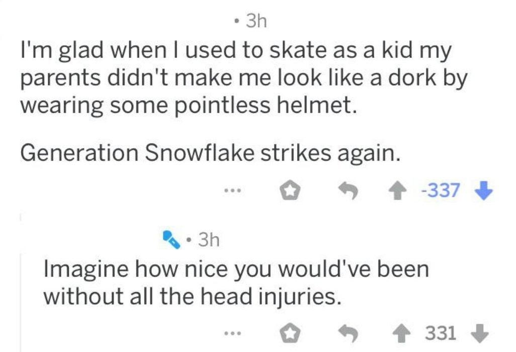 person who refuses to wear a helmet