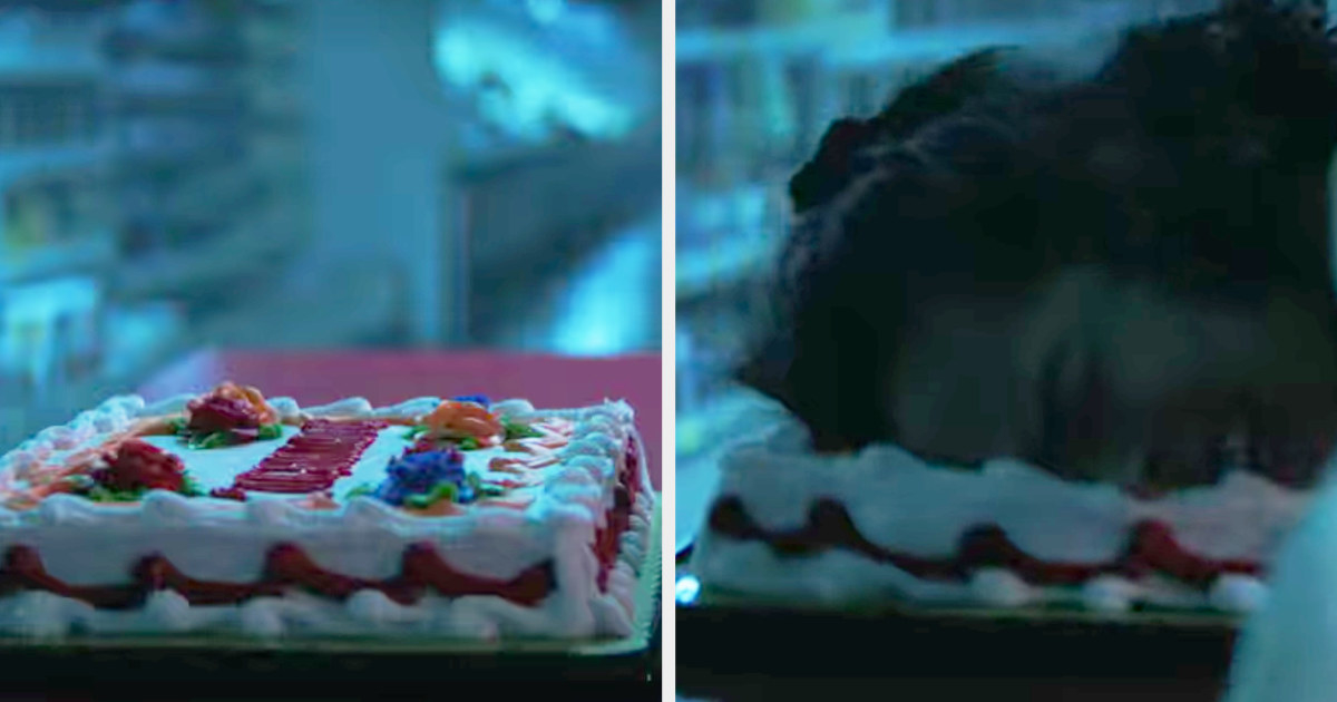 the skeleton mask killer pushing a girl's face into a cake