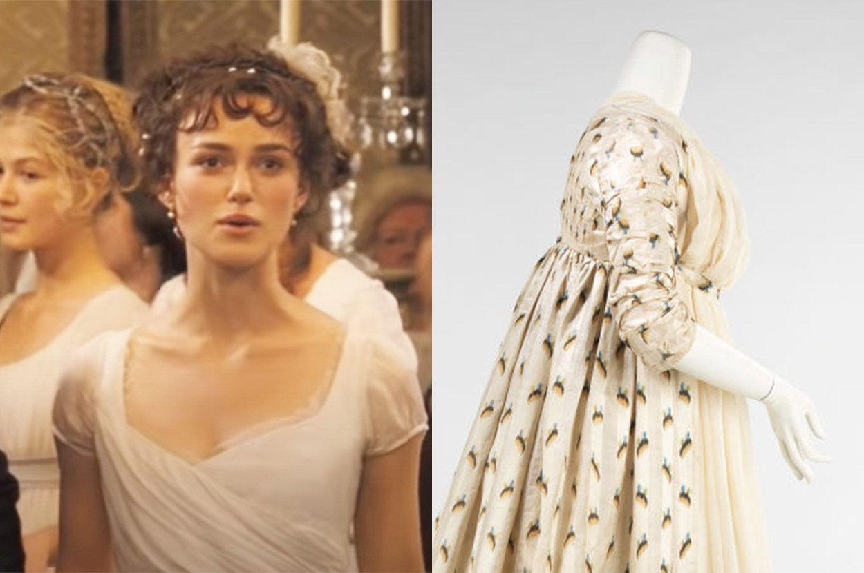 Elizabeth's dress is simple, but the real gown is patterned and complex