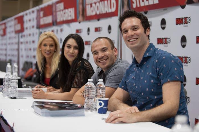 """Miriam McDonald, Cassie Steele, Shane Kippel, and Jake Epstein speak at a """"Degrassi"""" panel"""