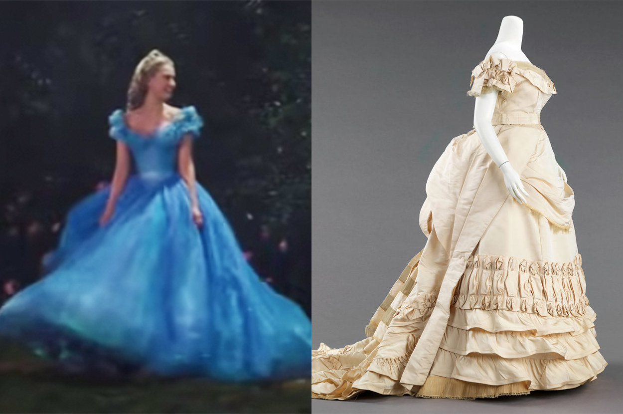 Cinderella's dress has a more modern-style skirt, whereas the real dress has a hip roll and lots of pleats