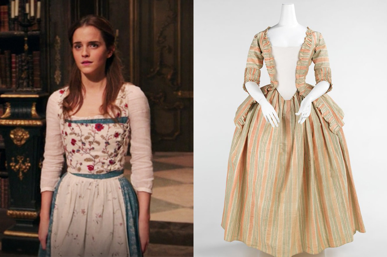 Belle's dress is floral and thin, whereas the real dress is striped and made from thick fabric