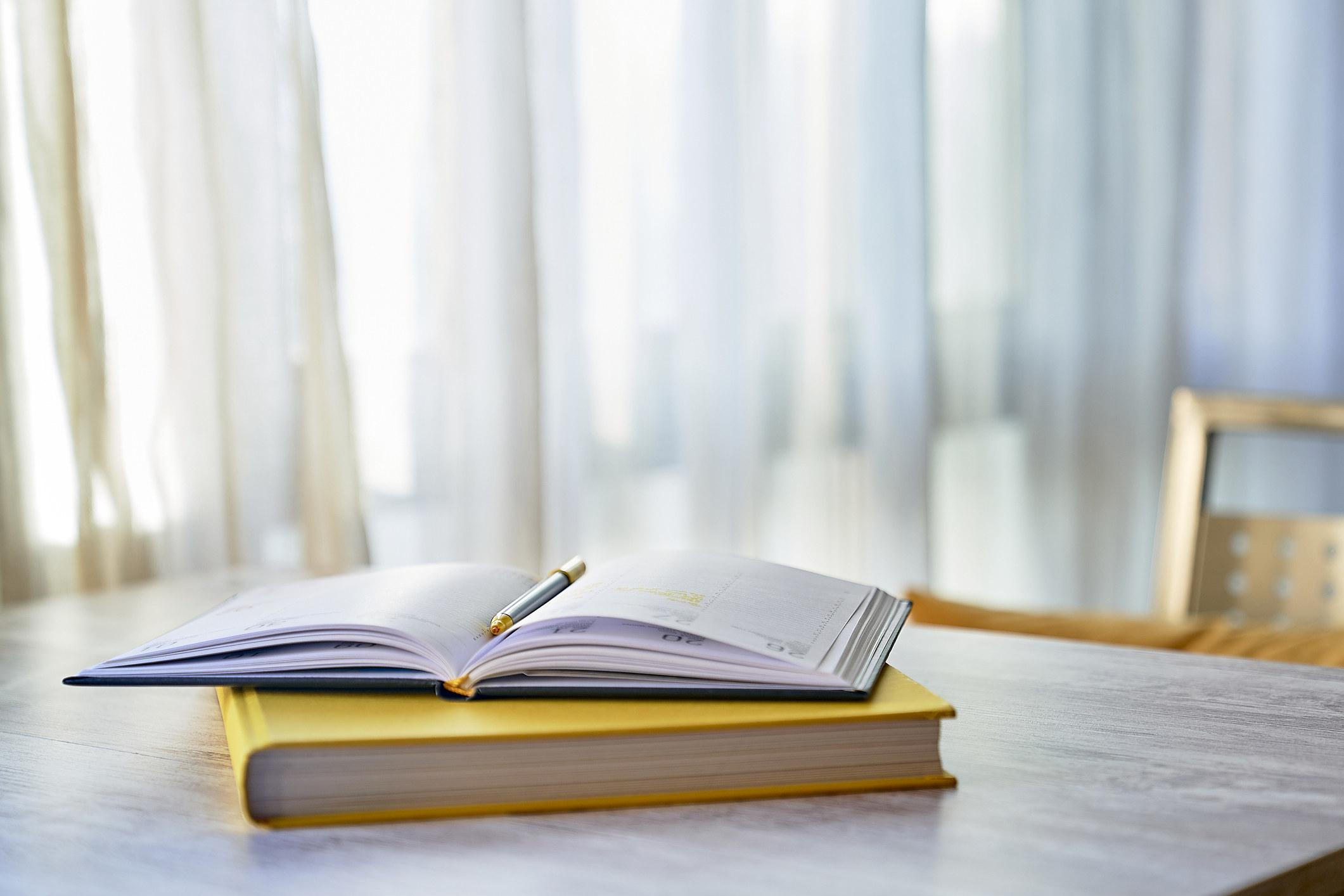 Homework on a table